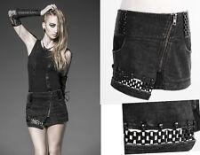 Mini jupe jeans gothique punk lolita fashion maillon métal tête de mort Punkrave