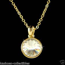 w Swarovski Rivoli Crystal Gold Plated ~Simple Round Circle Pendant Necklace NEW