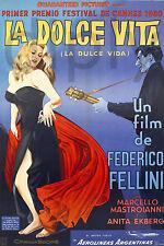 PLAQUE ALU DECO AFFICHE CINEMA LA DOLCE VITA FEDERICO FELLINI 1960 FESTIVAL