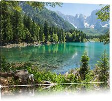 Wunderschöner Bergsee mit Wald  Leinwandbild Wanddeko Kunstdruck