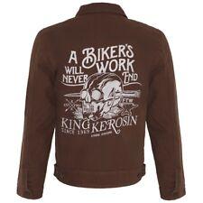 King queroseno vintage rockabilly canvas chaqueta workerjacke-Biker 's work marrón