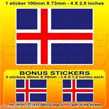 "ICELAND Flag Icelandic 100mm (4"") Vinyl Sticker, Decal x1+2 BONUS"