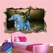 Mariposa Hada en Unicornio Niños Habitación Guardería Oficina Pared Adhesivo Mural de Arte XK2