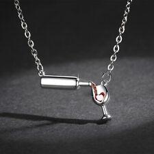 Women Fashion Wine Glass Crystal Rhinestone Heart Pendant Necklace Jewelry SP