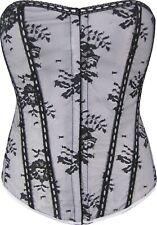 Silver Satin Style Corset Floral Black Lace Overlay Burlesque Vintage Cincher