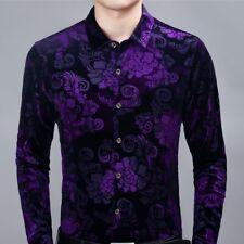 Men Velvet Shirt Floral Blouse Tops Casual Formal Printed Flower Pleuche Fashion