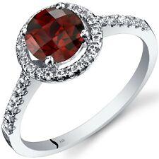 14K White Gold Garnet Halo Ring Round Cut 1.25 Cts Sizes 5 to 9