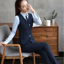 élégant Suit complete woman black vest pinstriped blue black trousers w9032