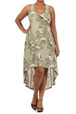 Jr's Plus 1X,2X Asymmetrical Hi-Low Sage Green Paisley Print Dress/Racer Back