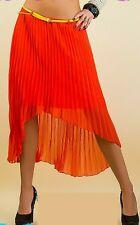 SeXy Miss 2 Lagen Chiffon Falten Plissee High Low Style Rock coral Gürtel S 34
