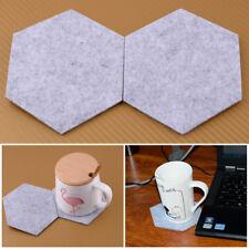 6PC Geometric Hexagon Drink Coasters Felt Fabric Glasses Coffee Mug Pot Cup Mat