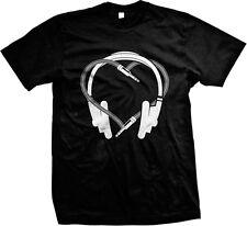 Headphones Heart Plug- I Love Music Logo Sayings Statements- Men's T-shirt