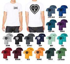 Sigma Phi Epsilon Fraternity Bella+Canvas Shirt SigEp Heart Badge - NEW