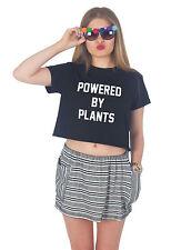 Powered By Plants Crop Top Summer Slogan Tumblr Grunge Vegan Vegetarian Boho
