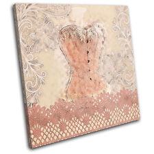 Boudior Corset Lace Fashion SINGLE CANVAS WALL ART Picture Print VA