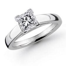0.91Ct Princess Cut Diamond Engagement Solitare Ring Solid Platinum 950