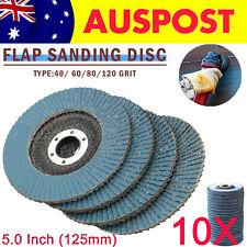 """10X 5"""" 125mm Flap Sanding Discs 40 60 80 120Grit  Grinding Wheel Zirconium Oxide"""