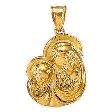La Virgen María con el Niño Jesús Oro Solido Colgante