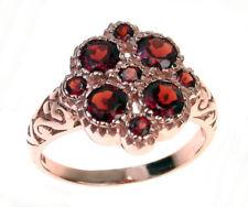 R107 Genuine 9K Rose Gold Natural Garnet Blossom Flower Ring in your size