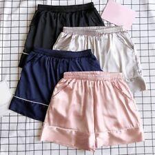 Women Satin Knickers Shorts Panties Underpants Underwear Pocket Faux Silk Soft