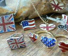 Union Jack British Flag Necklace Earrings Bracelet Ring Set Olympics American