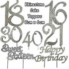 Compleanno Diamante Strass 80mm cake topper Gemma Argento PICK numero ANNIVERSARIO