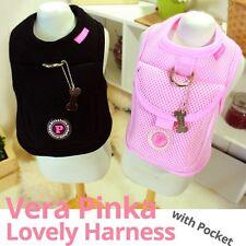 Luxury Pet Puppia Harness- Vera Pinka Black&Pink Small-Large Dog w/ Pocket Cute