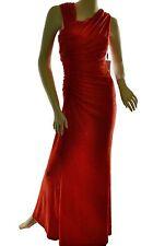 Calvin Klein Women's Ruched Shiny Glitter Sleeveless Formal Dress, Red 2,4,8,10