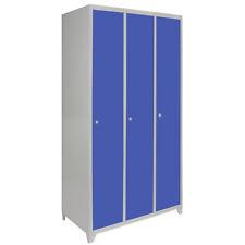 Metal Lockers 3 Doors Steel Staff Storage Lockable Gym Changing Room School Blue