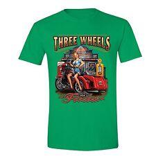 Three Wheels Motorcycle Tshirt Vehicle USA Blonde American Girl T-shirt Green