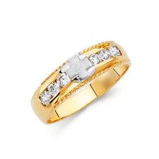 14k Yellow White Gold 6mm Round Cut Diamond Men's Wedding Band Cross Ring