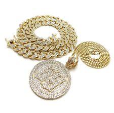 "Hip Hop Gold Pt 6ix9ine 69 Necklace & 12mm 18"" Full Iced out Cuban Choker Chain"