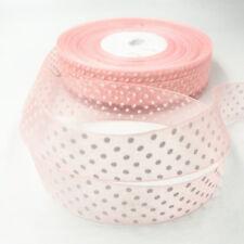 100Yards 25mm Light pink dot Satin Edge Sheer Organza Ribbon Bow Craft Wedding