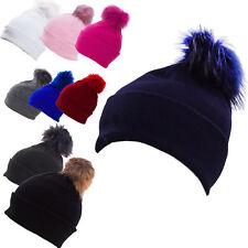 Cappello donna tricot invernale POMPON pelliccia berretto cuffia nuovo M1056