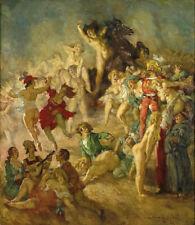 NORMAN LINDSAY THE SORCERER'S SERVANTS GRAVURE ART GICLEE PRINT FINE CANVAS