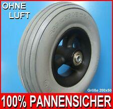 Rollstuhl Reifen PU 200 x 50 absolut pannensicher auf Felge mit Kugellager NEU