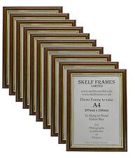 Confezione da 10 di A4 legno scuro con intarsio oro Foto Cornici Fotografiche certificato