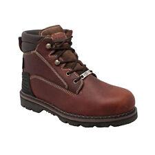 SAFA Mens Brown 6in Steel Toe Work Boot Tumbled Leather
