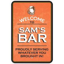 """Welcome To Bar 8"""" x 12"""" Plastic Sign Names Male Sa-Sh"""