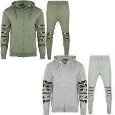 Nouveau Hommes Camouflage Coupe Slim Fit Sweat à Capuche Haut Et Pantalon De Jogging Gym Survêtement Set