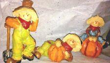 Scarecrow in Overalls and Hat Pumpkin Harvest Wood Decorative Shelf Figurines
