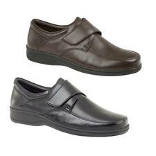 Roamers beck homme en cuir large e fit Touch Fasten confort chaussures de loisirs noir