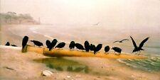 BEACH THE WRECKERS CROW BIRD OCEAN SEA BY WILLIAM HOLBROOK BEARD ART REPRO