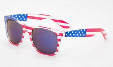 Uncle Sam USA American Flag Sunglasses Eyewear Transparents Frame Blue Lens
