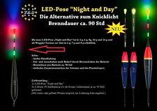 """1x LED waggler yad-pose """"Night and Day"""" 4,6,7,8,16 o.20g. incl. 2x vara batería 3v"""