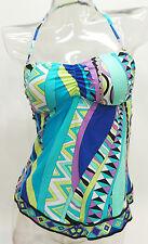 Apt 9 Multi Color Geometric Bandeau Halter Tankini Top Swimsuit Women's S,M