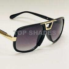 Classic Gazelle Hip Hop Flat Top Aviator Swag Square Turbo Gold Metal Sunglasses