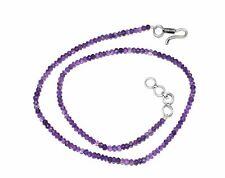 "Handmade Blue Amethyst Gemstone 12-35"" Strand Necklace Round 3-4 mm Aprrox Beads"