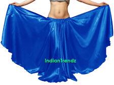 Dodger Blue - Satin 16 Yard Double Circle Skirt Belly Dance Gypsy Boho Flamenco