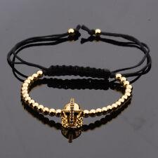 Mens Spartan Helmet 4mm Micro Pave CZ Zircon 18K Plated Beads Braided Bracelets